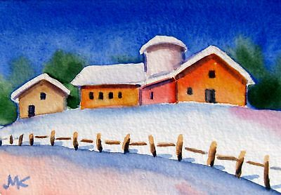 Winter Snow  Farm House Original ACEO Watercolor Miniature painting 2.5 x 3.5 in