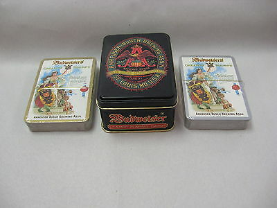 Anheuser Busch Brewing Assn hinged lid tin with two unopened decks playing cards