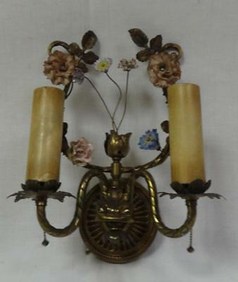 Antique Victorian Brass 2 Light Wall Sconce w/ Hand Painted Porcelain Flowers!!