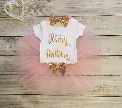 Baby Girls First 1st Birthday Outfit TuTu Light Pink Cake Smash 12-18 Months