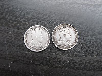 Lot of 2 Canadian Silver 5 Cent Coins 1905/1906
