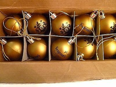 NEW Seagrams Gin Christmas Ornaments, Box of ten w/logos, Bar, Mancave, Gold