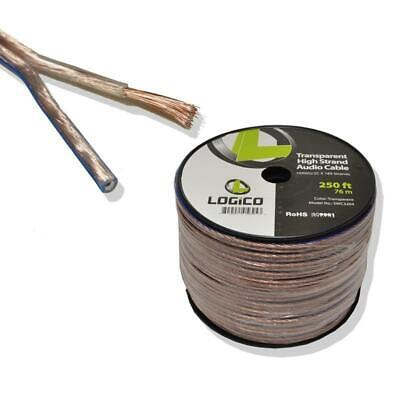 Clear 10 Gauge 2 Conductors 250 ft Car Home Audio Speaker Wire Cable 250' 10AWG