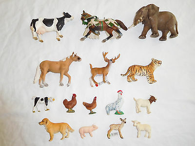 Lot 15 Schleich Animal Figures Elephant TIger Horse Cow Chicken Pig Lamb Dog