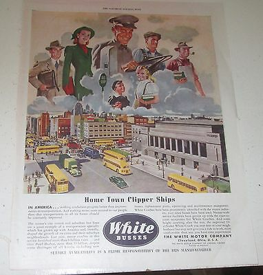 1945 original ad White Busses Driver & Different Types of Passengers above City