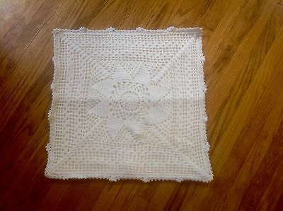 "Vintage Pillow Cover ~ Crochet Over Cotton 15"" x 15"" White~ZIPPER BACK"