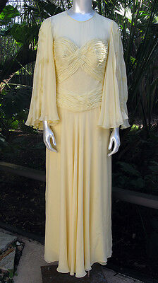 Vintage Hollywood Glam Silk Chiffon Buttercup Yellow Evening Dress