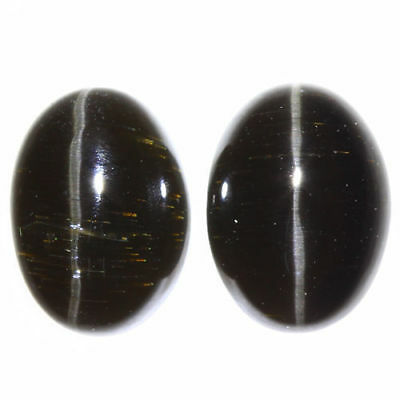 3.200 Ct VERY RARE FINE QUALITY 100% NATURAL SILLIMANITE CAT'S EYE INTENSE PAIR!