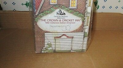 Dept. 56 Christmas Classic Ornament Series 1992 Crown & Cricket Inn Hotel Nib !