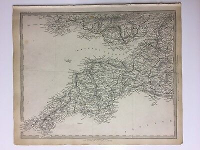 Vintage Original 1845 Topographic Map Of 'England-South West' Cornwall, Devon