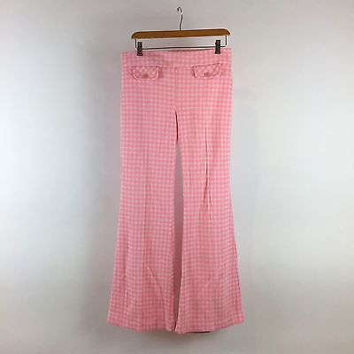 Vintage Pink Plaid Pants 1960s Polyester Knit Pull On Wide Leg Hippie Festival