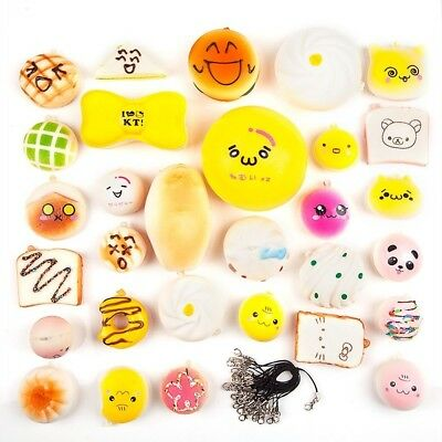 5/10/20/30PCS Kawaii Squishy Lot Toast Bread Cell Phone Strap Jumbo Panda Kit