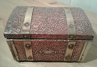 Arts and crafts wood, copper and brass tea caddy