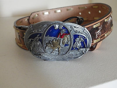 "Cowboy country farmer kids 1&1/4"" leather belt rodeo bull rider buckle BNWT sz26"