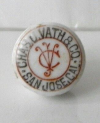 Vintage 1900 Chas. J. Vath Rainier Beer San Jose, Cal. Porcelain Bottle Stopper