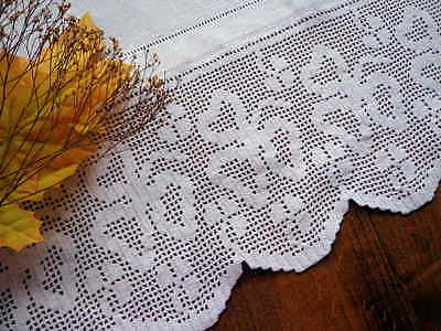 Antique White Huck Linen Towel or Panel Handmade Lace  IRISH SHAMROCKS 27""