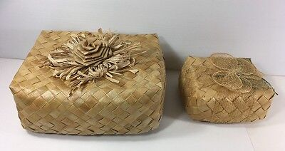 Lot Of 2 Hawaiian Lauhala Weave Gift Box (W/rose &flower) Great For Gifts Boxes