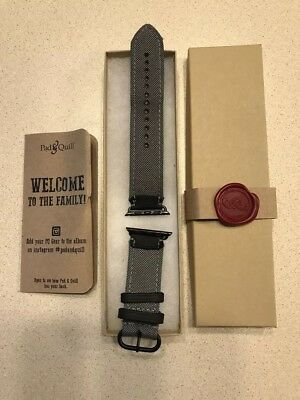 Pad and Quill Field Strap, 42mm Apple Watch, black