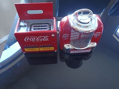 Coca Cola Collectibles Tabletop Jukebox Diecast AND Coke cooler  BOTH PLAY MUSIC