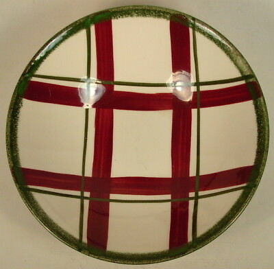 """Knowles El Centro Red & Green Plaid 8 3/4"""" Serving Bowl 1950's"""