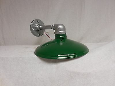 "Vintage Barn Light Industrial Look yard sign gas station metal shade 10"" dia GRN"