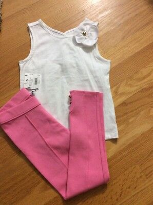 NWT janie and jack Girl Pink Pants Legging With White Shirt, Size 5