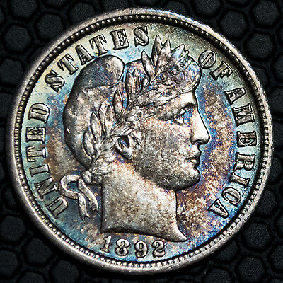 1892-O Barber Dime 10c Ten Cents with original toning and luster