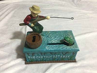 Antique Vintage CollectibleMechanical Bank The One That Got Away Fishing