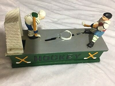 Antique Vintage Collectible mechanical Bank HOCKEY