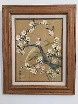 Signed Marked Vintage Hand Painted Japanese Watercolor Painting of Birds