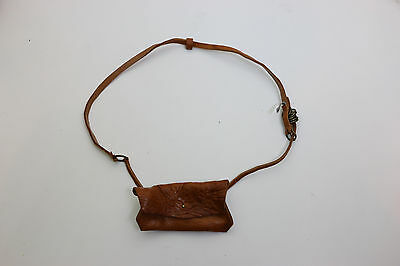 Humanoid Brown Thin Leather Belt with Chain Purse Small Medium