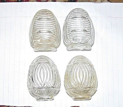 2 Pair of Vintage Clear Glass USA Art Deco Bird Cage Feeders