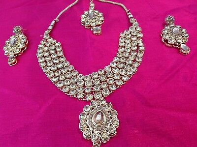 Indian Bollywood Bridal Jewellery Necklace Set - Kundan Gold And Gold Stone