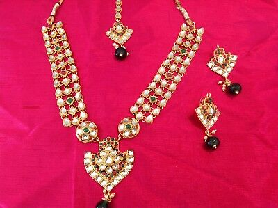 Indian Bollywood Bridal Jewellery Necklace Set -Kundan Green Red And White Stone
