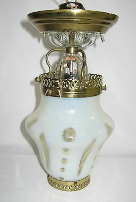 ....VINTAGE 1930s FRENCH OPALESCENT COIN DOT SHADE CEILING LAMP..EXCELLENT