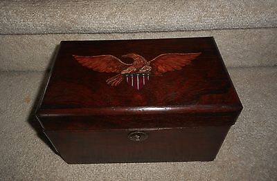 Antique Mahogany Tea Caddy, Painted Folk Art Eagle Design, Signed