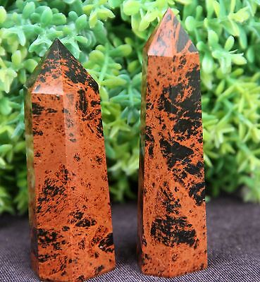 82g 2pcs  NATURAL RED OBSIDIAN POLISHED CRYSTAL POINT HEALING