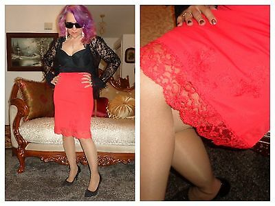 VTG Sizzling Red Hot Half Slip Soft Nylon Sexy Lace Skirt Slip Lingerie S