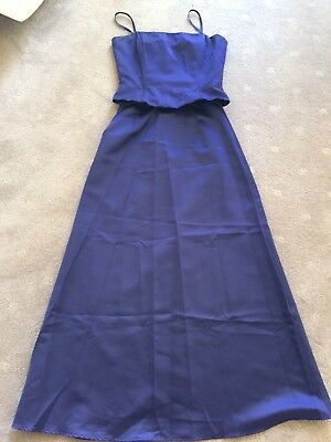 Syndicate Purple Outfit Long Skirt And Top Size 10 Formal Bridesmaid Dress Satin
