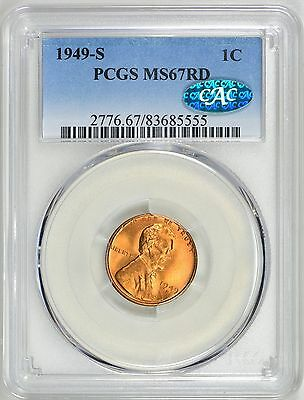 1949 S Lincoln Cent PCGS MS 67 RD CAC