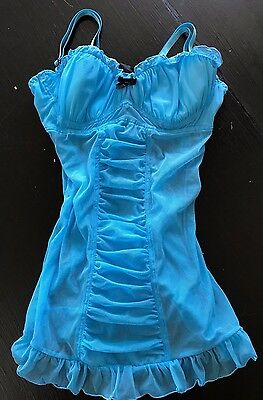 Fredericks Of Hollywood Blue Sheer Teddie & Thong Lingerie size M Medium NWT