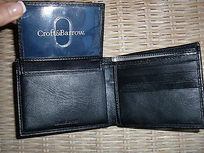 """NEW""""CROFT&BARROW""""Black Leather Passcase BiFold Wallet ID Cards Money Holder NICE"""