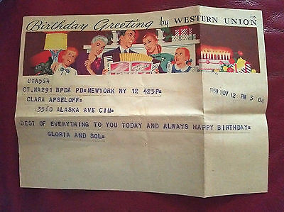 1950 Western Union Birthday Telegram