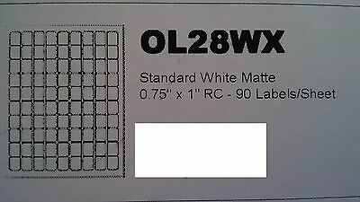 10 x Self Adhesive 0.75 x 1 inch Labels White. 90 stickers per sheet.