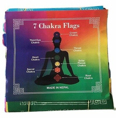 Pack of 7 Rolls 100% Cotton Healing Chakra Affirmation Flags 7Mantras/49 Flags