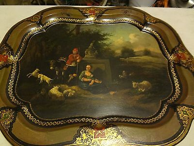 Antique hanging tin painting Folk art? toleware?Hand painted? European? Beutiful
