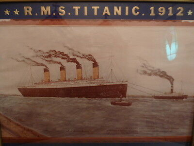 Vintage RMS TITANIC water color in wood frame signed DESCHENES circa 1972