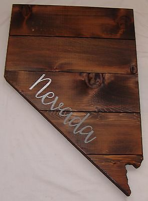 Large Wood Plaque State Nevada Barn Board Wall Hanging Decor Reclaimed Rustic