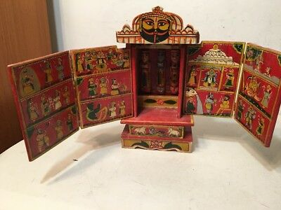 Fantastic Vintage Indian Hand Painted Puzzle Box Folding Screen Gods & Fables