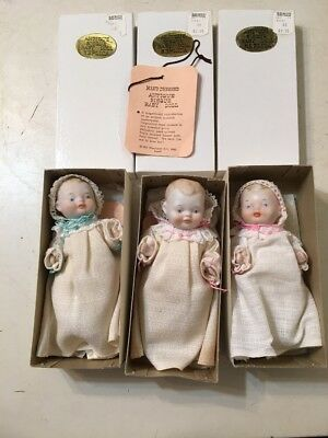 Lot Of 3 Museum Replica Bisque Dolls By Shackman Made In Japan Vintage
